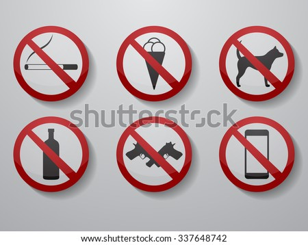 Vector illustration on a theme prohibition signs - stock vector