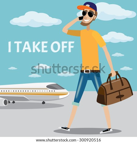 Vector illustration on color background featuring man calling on the phone and sits in the plane - stock vector