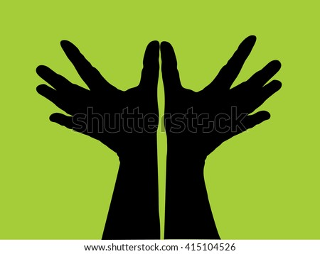 Vector illustration on green background, Hand Bird, freedom concept dove hands isolate - stock vector