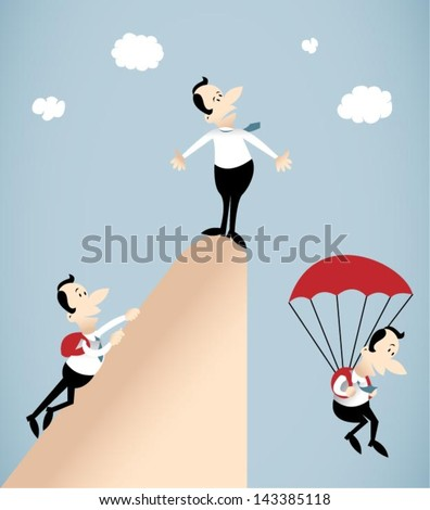 Vector illustration on group of businessman who climbed the peak of his career and then descend by parachute.He is no way to get down.Going down is harder than climbing