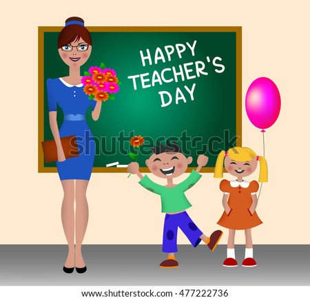 Vector Illustration on Happy Teacher's Day. Children greet teacher. Schoolchildren give flowers teacher. The kids and the teacher standing at the blackboard. Back to school. Teacher clipart.
