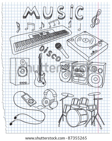Vector illustration on music - stock vector