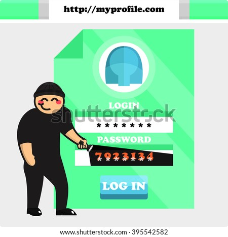 Vector illustration on safety in the web (cybercrime)