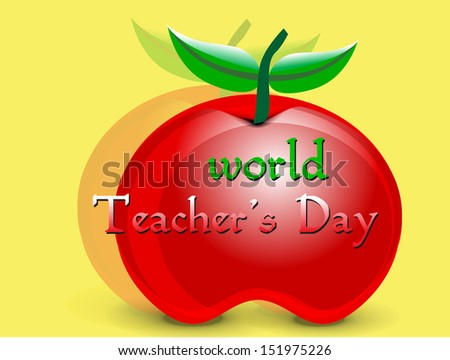 Vector illustration on the teachers day occasion with shiny apple. - stock vector