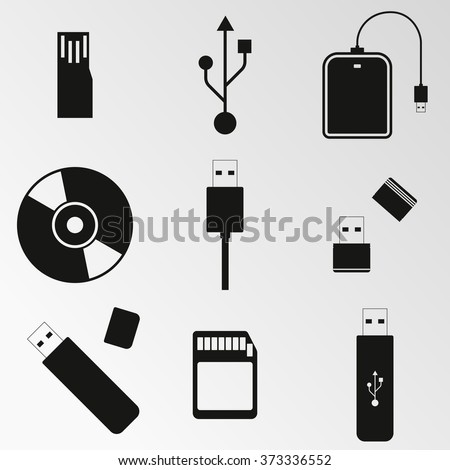 Vector illustration on the theme computer disk, usb - stock vector