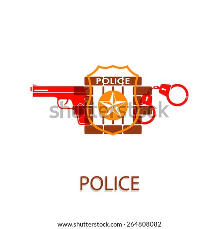 Vector illustration on the theme of Police - stock vector