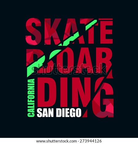 Vector illustration on the theme of skateboarding, print, skate, printing on clothing, vintage emblem, logo - stock vector