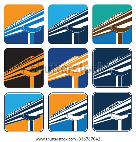 Vector illustration on the theme of urban transport. City train in different color options - stock vector