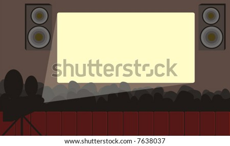Vector illustration on which the conference hall with spectators and the included projector during presentation is represented. - stock vector