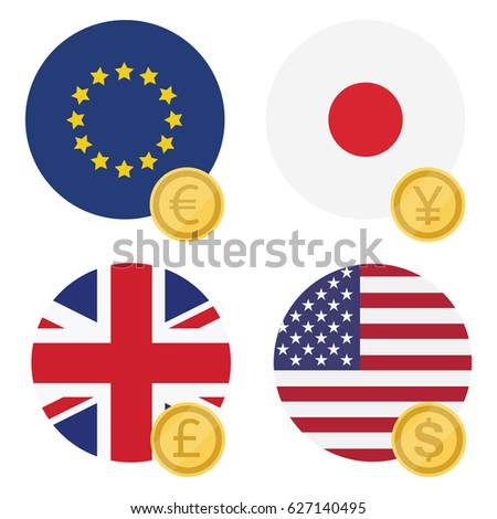 Vector Illustration One Euro Dollar Pound Stock Vector 2018