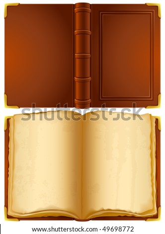 Vector illustration - open old book - stock vector