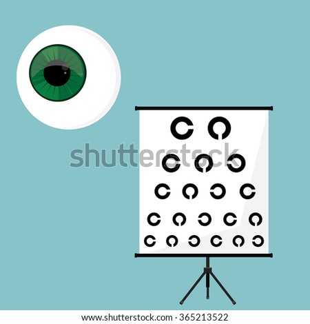 Vector illustration optical ophthalmology icons set, symbols. Eyeball, and eye test - stock vector