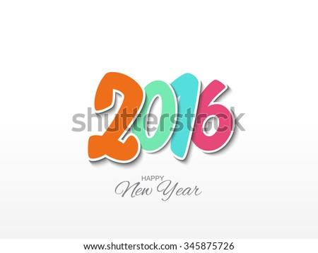 Vector illustration or greeting card for happy new year 2016 with beautiful typography.