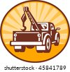 vector illustration or icon of a Rear view of a tow or wrecker truck - stock vector
