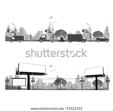 Vector illustration.Outdoor Billboard and city traffic - stock vector