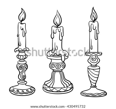 Vector illustration, outline, coloring book, set, candle in a candlestick, flame, hand-painting, abstraction, art, design element, church - stock vector