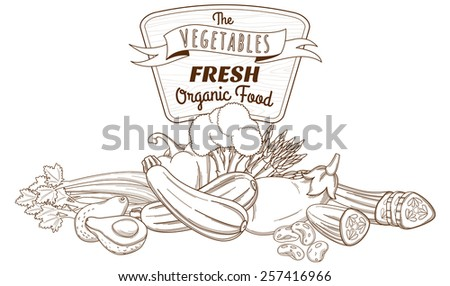 Vector illustration Outline hand drawn sketch vegetable still life composition (flat style, thin  line)  - stock vector