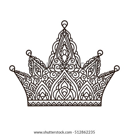 vector illustration outline lace pattern crown coloring page print hand - Crown Coloring Page