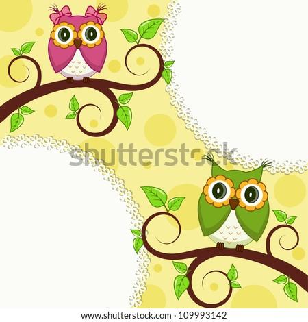 Vector illustration. Owl on a branch - stock vector