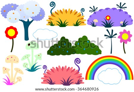 Vector illustration pack of various plants flowers tree and rainbow in flat colorful cute style.