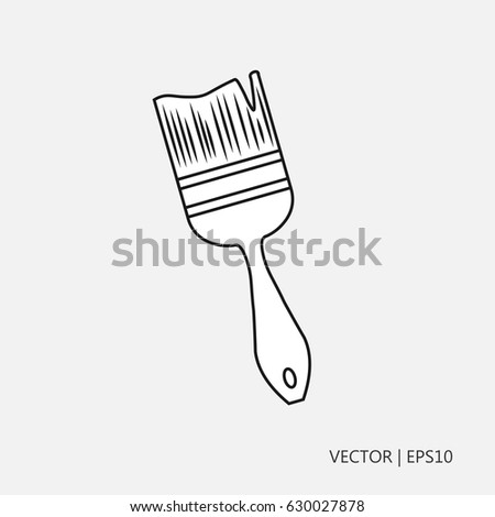 Vector Illustration Paintbrush Painting Walls Simple Stock Vector ...