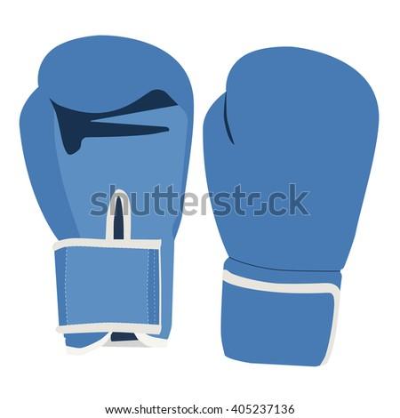 Vector illustration pair of blue boxing gloves isolated on white background. Sport equipment - stock vector