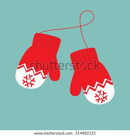 Vector Illustration Pair Knitted Christmas Mittens Stock ...