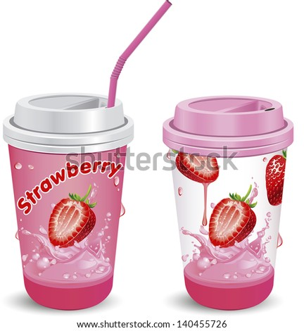 Vector illustration  paper cups with tubes. - stock vector