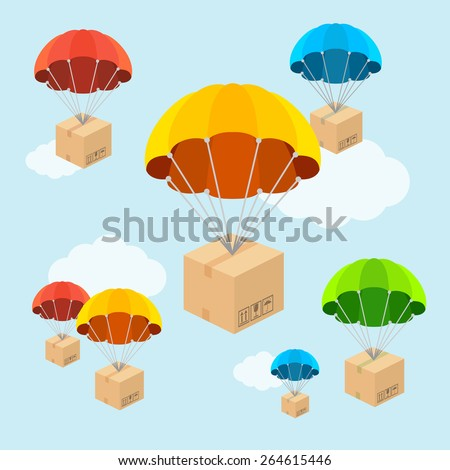 Vector illustration. Parachute fly with clouds. Delivery concept. Flat Design - stock vector