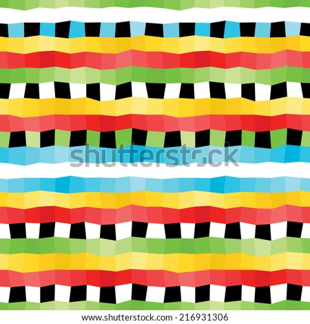 vector illustration pattern of colorful wavy lines and black and white squares - stock vector