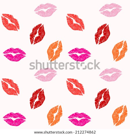 vector illustration pattern of women's colorful lipstick marks, from kisses, on light pink background - stock vector