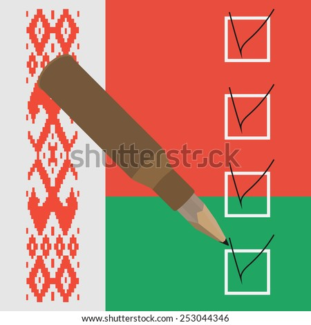 Vector illustration. Pencil inside the sleeve check mark in the box. Symbol Minsk Agreement on the background of the flag of Belarus - stock vector
