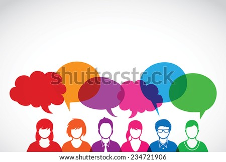 Vector illustration people and dialog speech bubbles