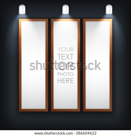 Vector illustration. Photo picture frame with black background and light lamp. Creative clean photo picture frame for photo, text, advertising, poster, leaflet, banner, web and flyer. Brown color. - stock vector
