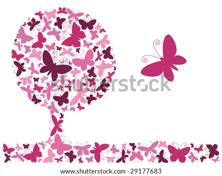 Vector illustration. Pink butterfly tree. - stock vector