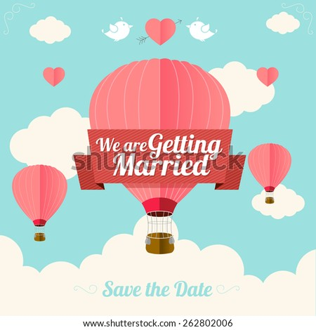 Vector illustration pink hot air ballons fly with clouds.  Wedding card. Flat Design - stock vector