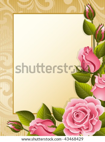 Vector illustration - pink roses and paper - stock vector