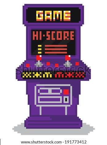 vector illustration - pixel art style drawing of arcade cabinet, screen shows high scores list, isolated vintage item on white background - stock vector