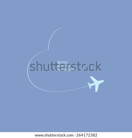 Vector illustration. Plane in movement in the form of heart  . Blue background  - stock vector