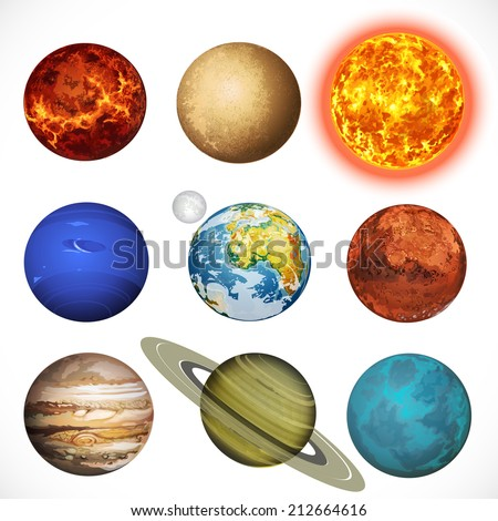 Vector illustration planets Solar system and sun isolated on white background - stock vector