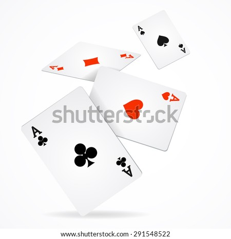 Vector illustration Playing Poker Cards Poster. Four aces of diamonds clubs spades and hearts fly - stock vector