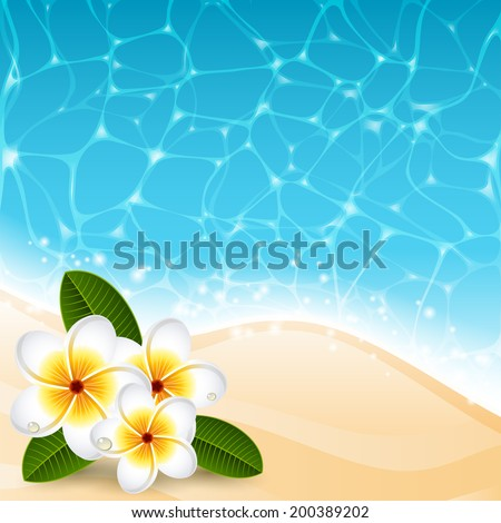 Vector illustration - Plumeria flowers on the beach - stock vector