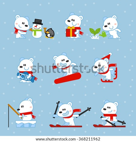Vector illustration Polar Bear snowboarding, skiing, fishing, gift, fish, set - stock vector