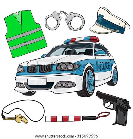 Vector illustration, policeman gear, cartoon concept, white background.