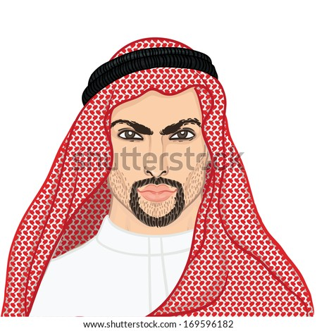 Vector illustration portrait of a arab man in keffiyeh isolated on white.  - stock vector