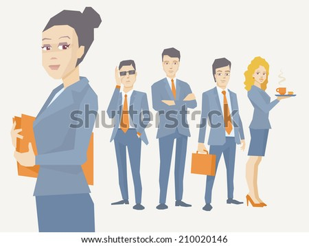 Vector illustration portrait of a woman manager keeps a folder with documents in hands on a background of business team of young businesspeople - stock vector