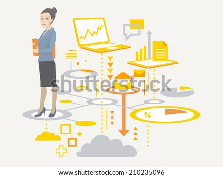 Vector illustration portrait of a woman manager keeps a folder with documents in hands stands on the scheme of business processes on light background  - stock vector
