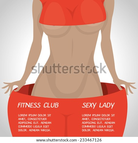 vector illustration poster sexy slim woman in big pants, a poster for a fitness club or weight loss program - stock vector