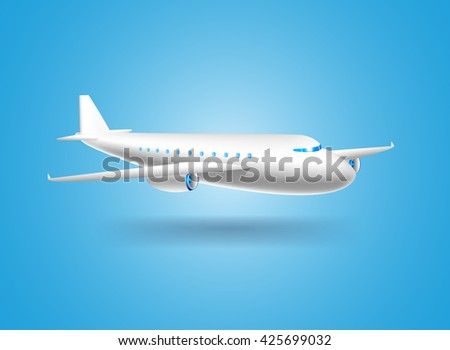 vector illustration poster with white passenger airliner with shadow on blue background