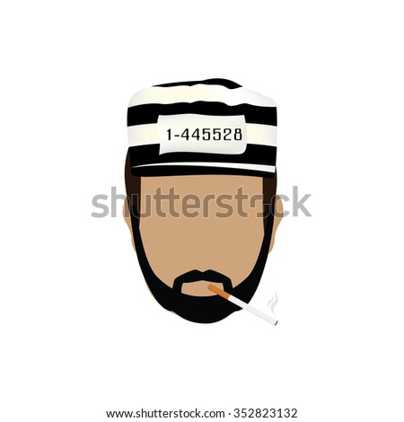 Vector illustration prisoner in hat with number on striped hat and burning cigarette. Gangster with mustache and beard - stock vector